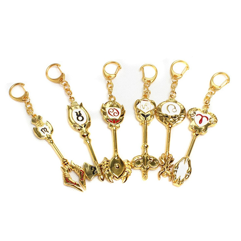 New Fashion Fairy Tail Zodiac Star Spirit Magician Summons Key Twelve Constellation Keychain Cosplay Gift