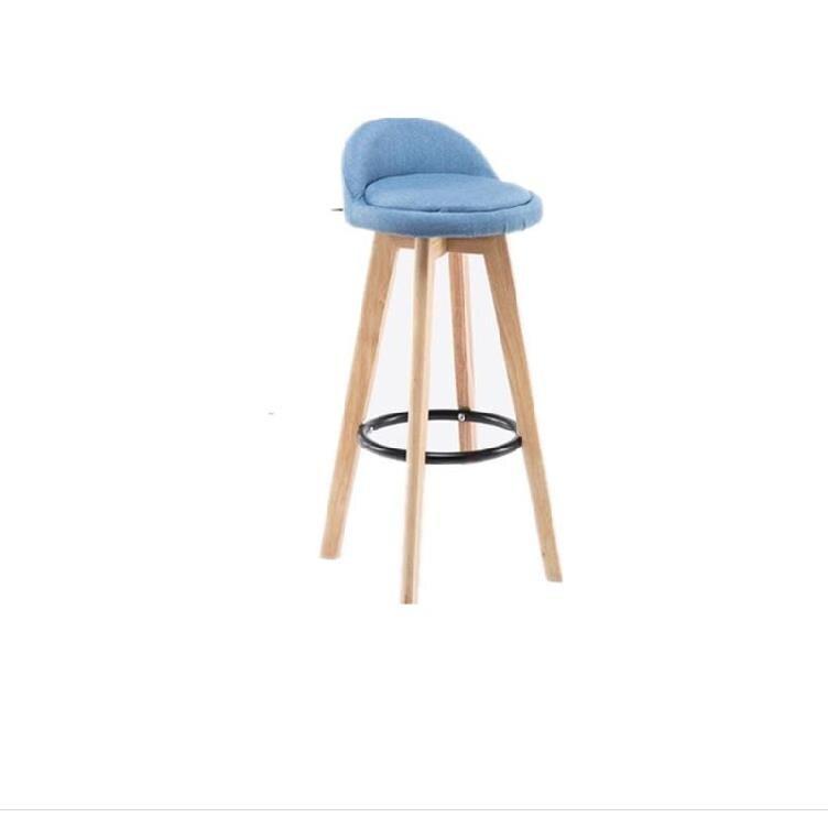 Solid Wood Bar Chair Modern Minimalist   High Stool Backrest   Front Desk Cashier Rotating Creative