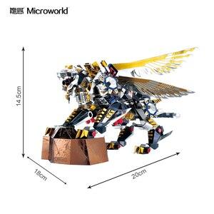 Image 2 - Microworld 3D מודלים נמר מעופף דגם DIY לייזר חיתוך פאזל לוחם דגם 3D מתכת פאזל ילדים צעצועים למבוגרים מתנות
