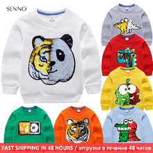 Kids boys hoodies baby sweatshirt with sequin autumn children sweatshirt pullover coat 100 cotton long sleeve boy clothing cheap NoEnName_Null Without Casual Polyester Fits true to size take your normal size Animal REGULAR Unisex Sweatshirts Full Soft breathable comfortable sweat absorption no pilling no fading