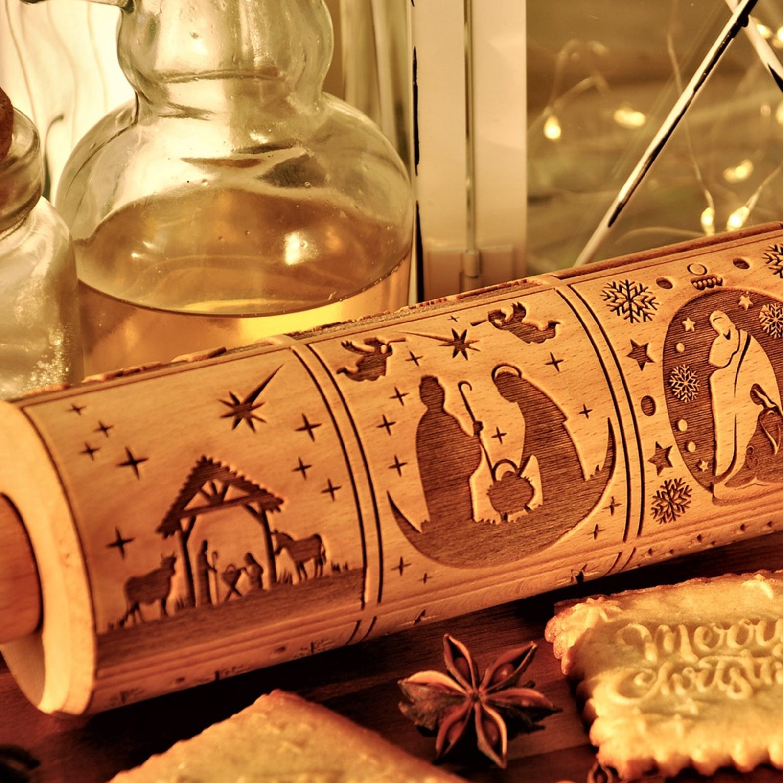 Wood Nativity Engraved Rolling Pin Pastry Tool Embossing Dough Cake Decoration Noodle Cookies Dough Roller Baking Supplies