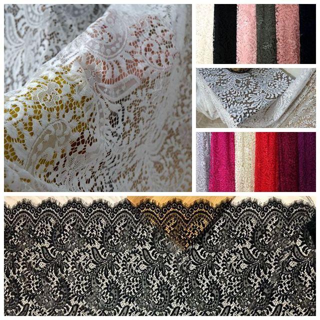 Tissu en dentelle de cils français   Robe longue pour femmes, 150x300cm = 1 pièce, avec 12 couleurs en stock, matériel en dentelle classique