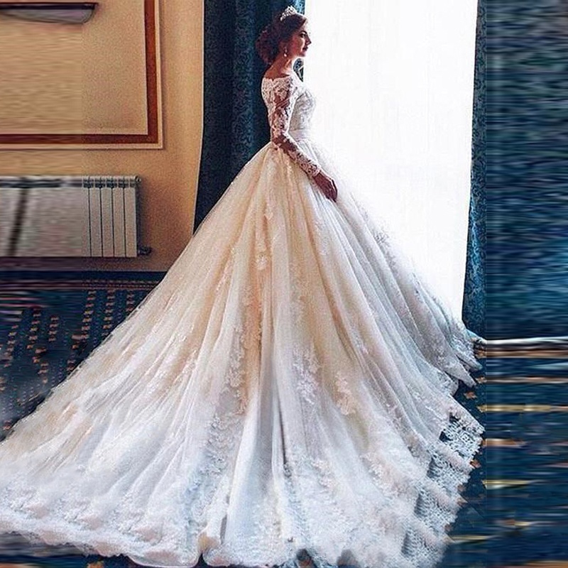 Robe De Mariee 2020 Alibab Ball Gown Wedding Dresses Appliques Lace Bridal Dress Custom Made Vestido De Novias Boat Neck Gowns