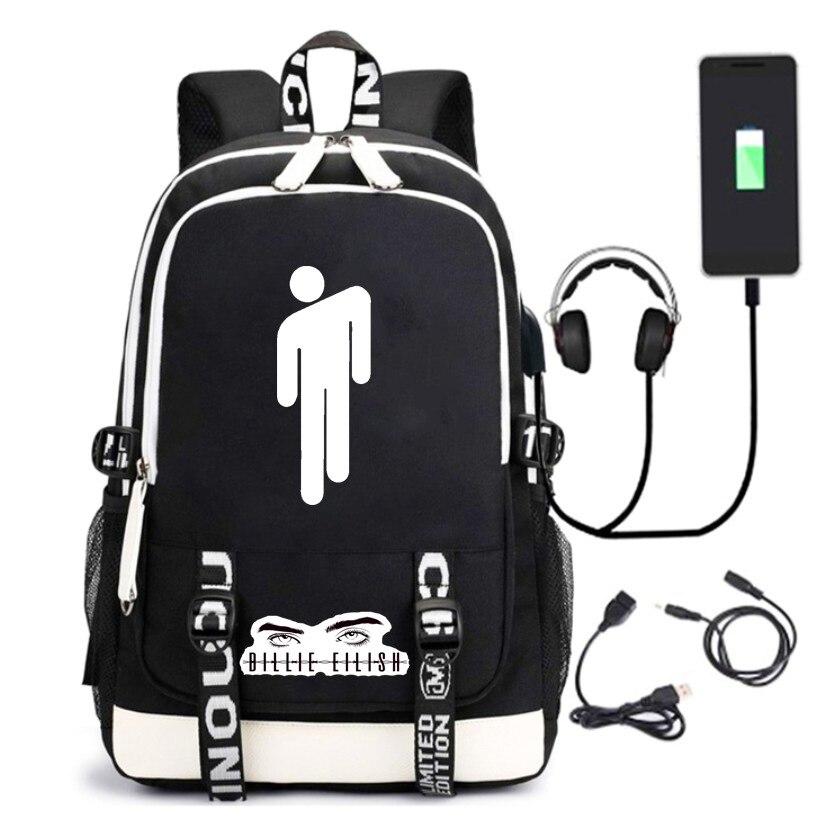 Billie Avery ce que Billie eilish produits connexes USB chargement sac à dos cartable voyage sac à dos nouveau