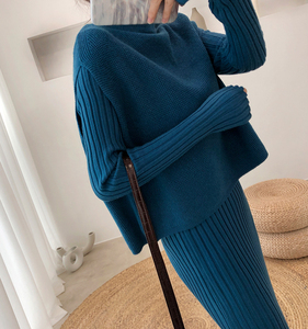 Image 3 - Knitting Female Sweater Suit For Women Two Piece Set Knitted Pullover  Elegant Knitting Clothing Suit