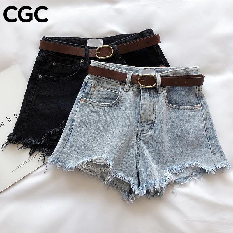 CGC 2021 Summer Jeans Shorts Loose High Waist  Woman Trousers Casual Denim Short Pants  Fashion Wide Leg Female Jeans Streetwear