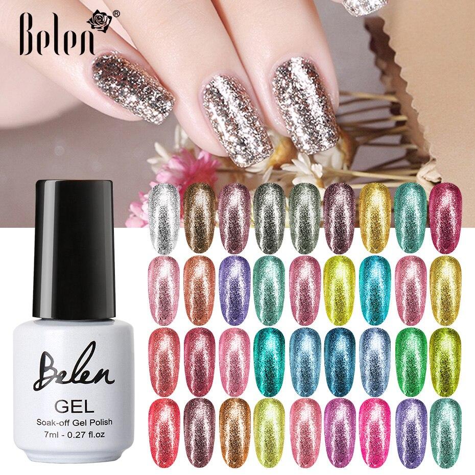 Белена 7 мл Platinum лак для ногтей УФ с сияющими блестками Цвет, семиперманентный Лаки Маникюр грунтовка лаки для ногтей Гибридный гвоздь искус...