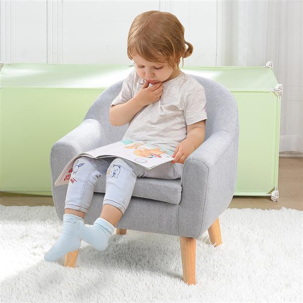 Children's Single Sofa with Sofa Cushion Removable and Washable Linen Gray 3