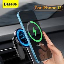 Baseus รถ Qi ไร้สายสำหรับ iPhone 12 Pro Max โทรศัพท์แม่เหล็กผู้ถือ15W Fast Charging สำหรับ iPhone 12 mini รถขาตั้งโทรศัพท์