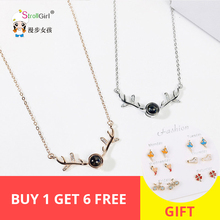 New Fashion Elegant Deer head animal black crystal Pendant 925 Silver/rose gold necklace collar Jewelry For Girl/women 2019 gift