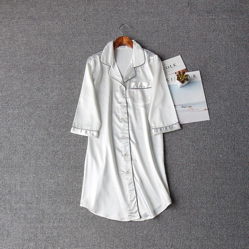 Size M-Xxl Sleep Lounge   Nightgowns     Sleepshirt   Sleepwear Bf Style Night Dress Women Sexy Lingerie Indoor Dress
