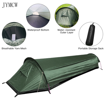 Camping ultralight tent, travel backpack single tent, army green tent 100% waterproof sleeping bag 1