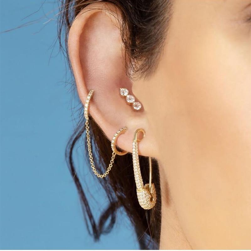 Lost Lady New Rhinestone Crystal Safe Pin Hoop Huggies Earrings Women Cute Heart Hanging Earrings Wholesale Jewelry Party Gifts