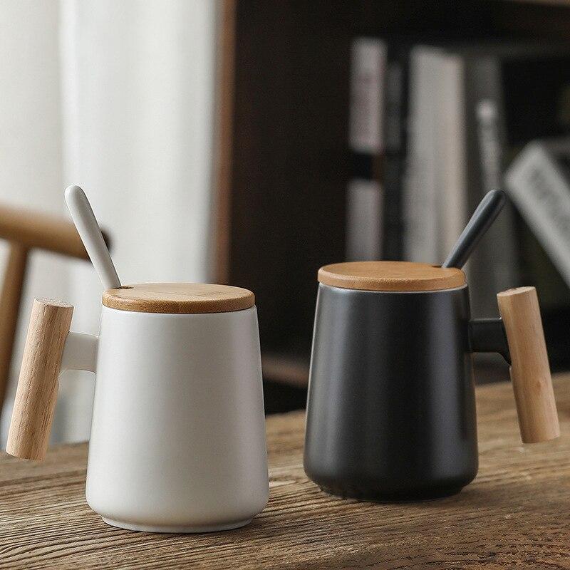 480ml Japan Style Wooden Handle Coffee Mug Ceramic Watercup With Bamboo Lid  Breakfast Milk Cup Has Spoon Black White Colors