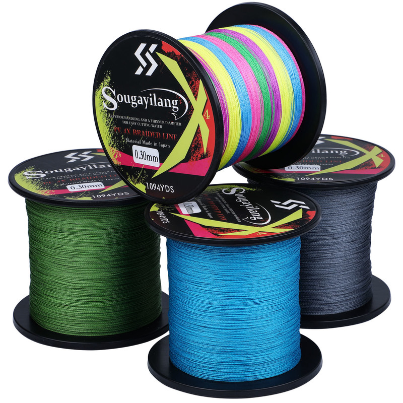 Sougayilang 300M 500M 1000M Strong PE Fishing Line 4 Strands Braided 0.3mm Fishing Line Multifilament Durable Fishing Line Pesca