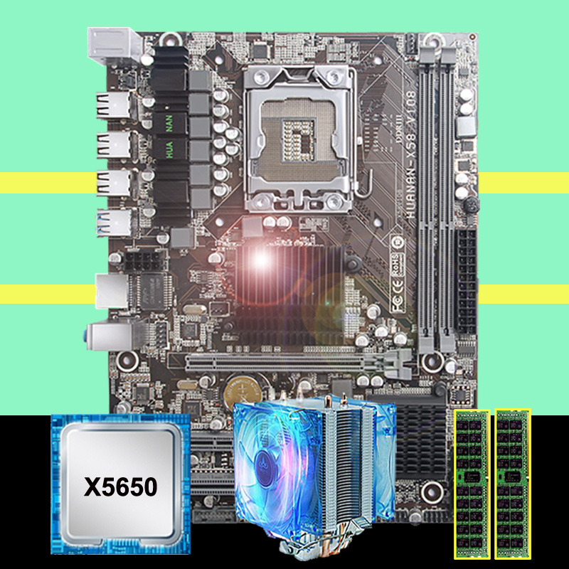 HUANANZHI X58 LGA1366 Desktop Motherboard Discount X58 Motherboard With CPU Intel Xeon X5650 2.66GHz With Cooler RAM 16G(2*8G)