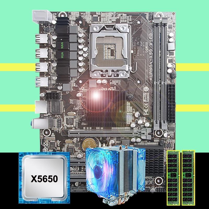 HUANANZHI X58 LGA1366 desktop motherboard discount X58 motherboard with CPU Intel Xeon X5650 2.66GHz with cooler RAM 16G(2*8G)