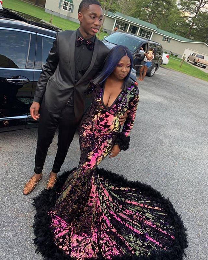 Long Sparkly Sequin Prom Dresses 2020 Sexy V-neck Long Sleeve African Black Girl Mermaid Prom Gowns