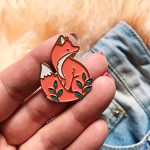 Hewan Lucu Woodland Fox Bros Pin Merah Fox Kerah Pin Denim Pin Gesper(China)