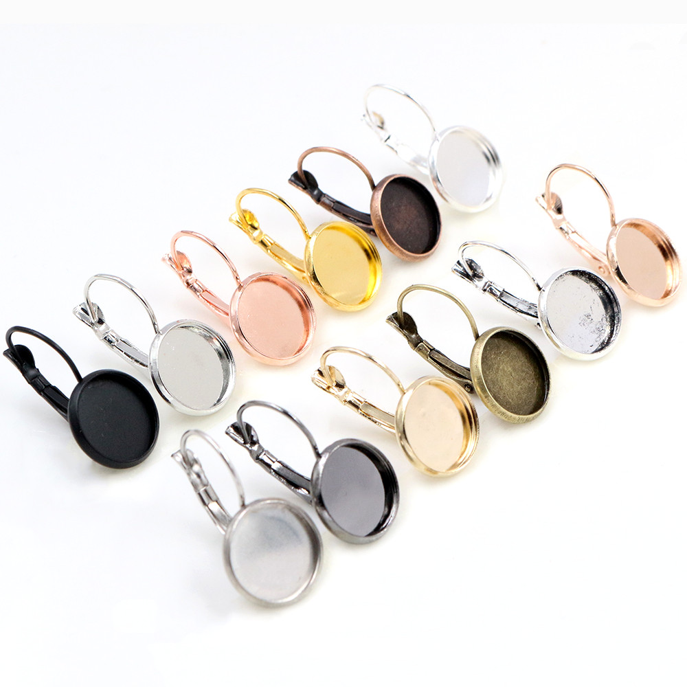 12mm 10pcs/Lot Classic Colors Plated French Lever Back Earrings Base,Fit 12mm Glass cabochons Earring Blank Supplies for Jewelry