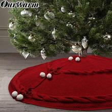 OurWarm Knitted Christmas Tree Skirts Red Carpet Merry Christmas Decoration for Home Natal Natal Tree Skirts New Year Decoration цена 2017
