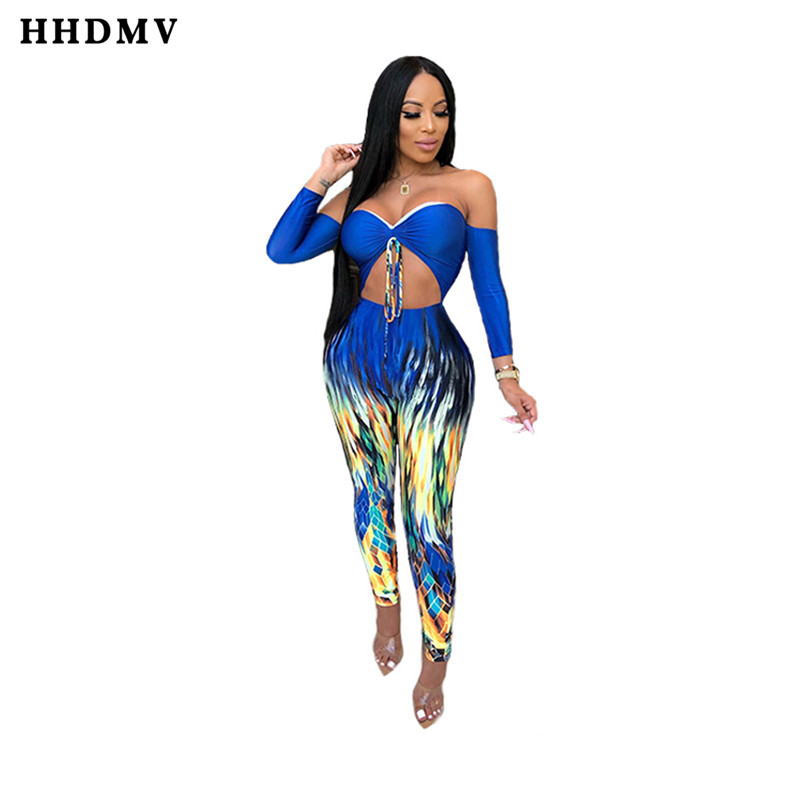 HHDMV NK035 new fashion casual holiday pastoral style jumpsuits long sleeve hollow our printed blue sexy jumpsuits long pants