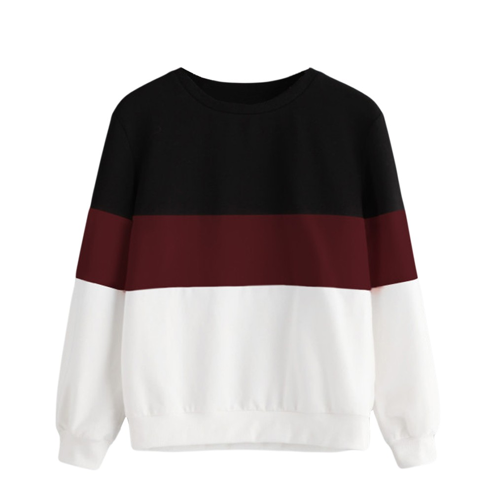JAYCOSIN Fashion Women Cut Sew Stripe Long Sleeve Sweatshirt Elegant Chic Round Neck Splice Casual Crop Jumper Pullover Tops