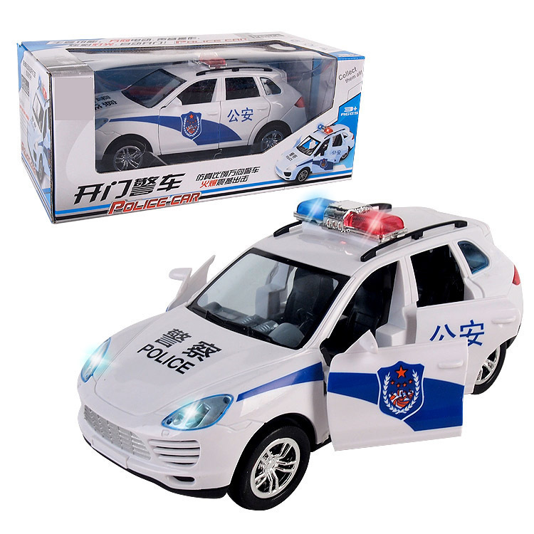 2875 # New Products Universal Wheel Door Opening Police Car Children Electric Police Car Boy Shining Sounding Toys