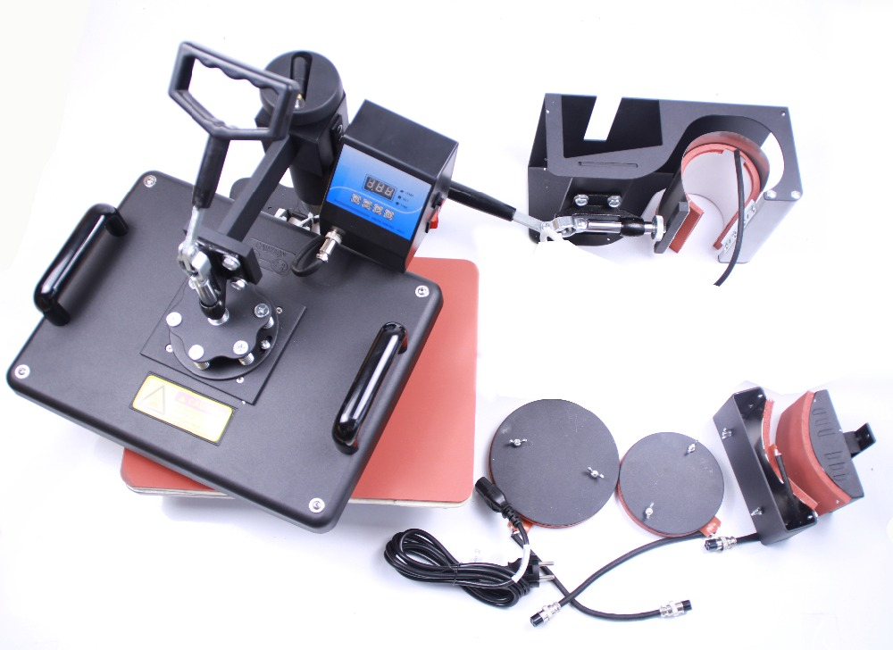 Free Shipping 5 in 1 Sublimation heat press transfer machine DX-035 for Printing Mug Plate T-shirt