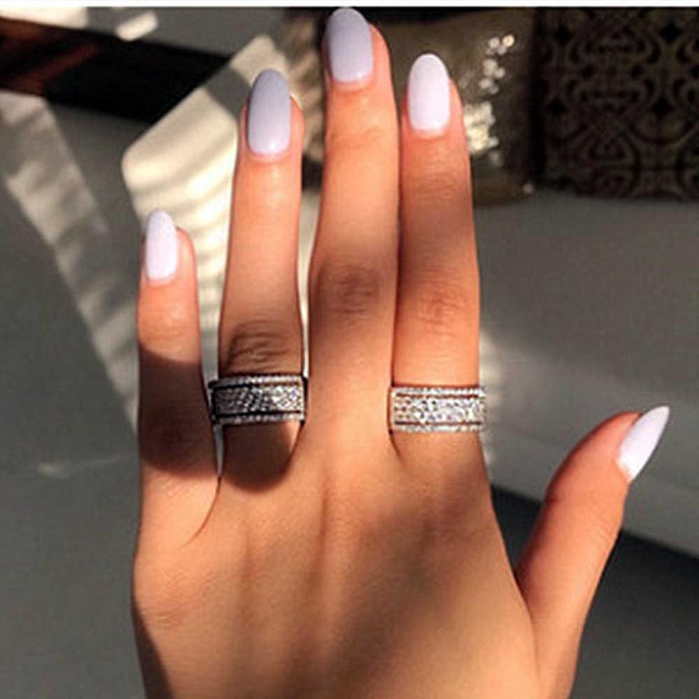 Modyle Luxe Sparkly Big Stone Zirkoon Zilveren Kleur Ring Voor Vrouwen Engagement Wedding Shiny Ring Partij Sieraden Mode Vrouwelijke