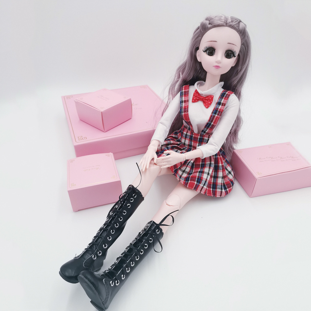 60cm Doll Boots Shoes For 1/3 BJD Doll Salon Doll Heel Girl Doll Toy Accessories 18 Inch Doll Shoes White Flat Boots