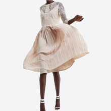 Spanish Design O Neck Lace Patchwork Pleated Fairy Dress Women Solid Color Sweet Vestidos