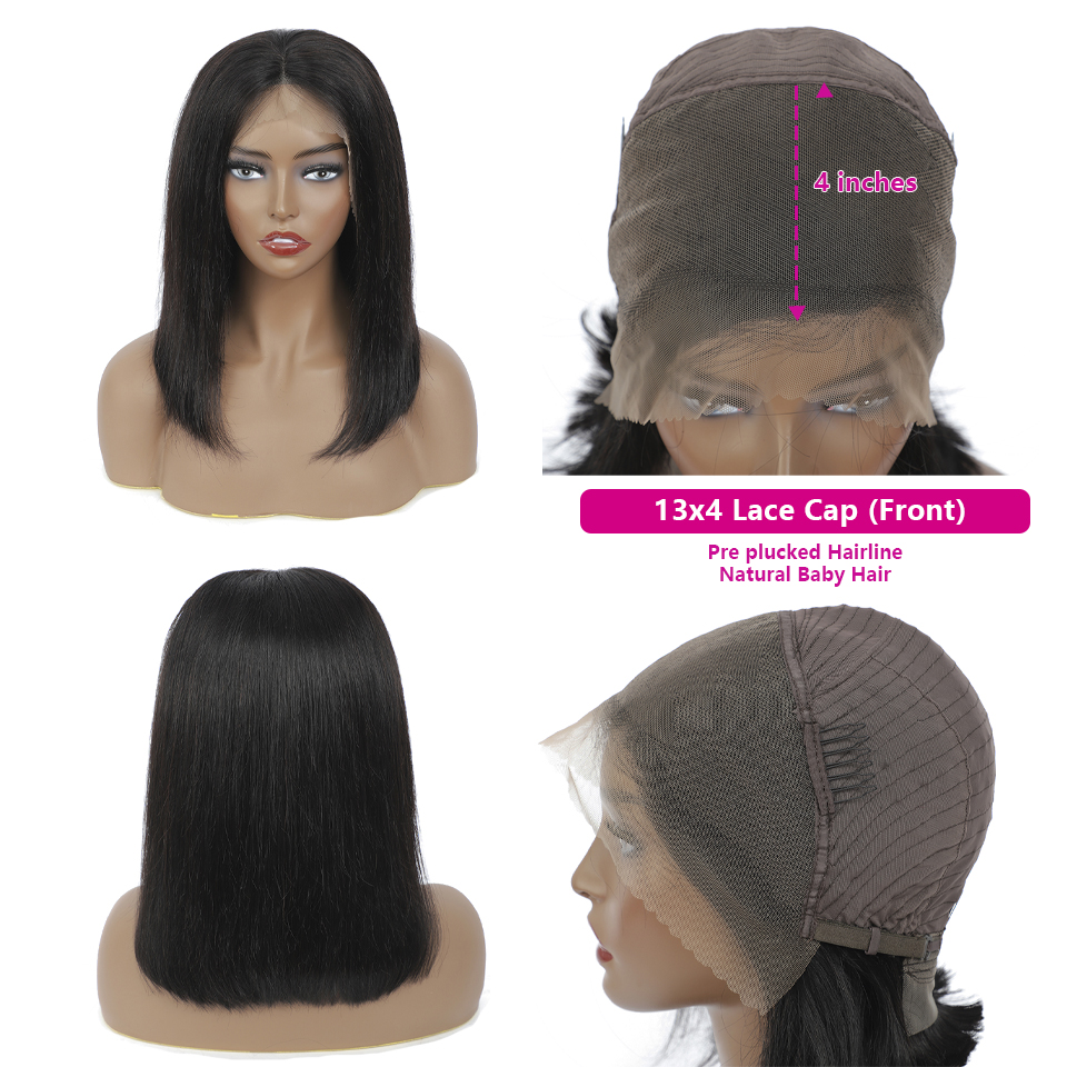 Bob Wig Lace Wig Short  Wigs  Short Wig  Straight Hair For Black Wome 4x4 Closure Natural Color  3
