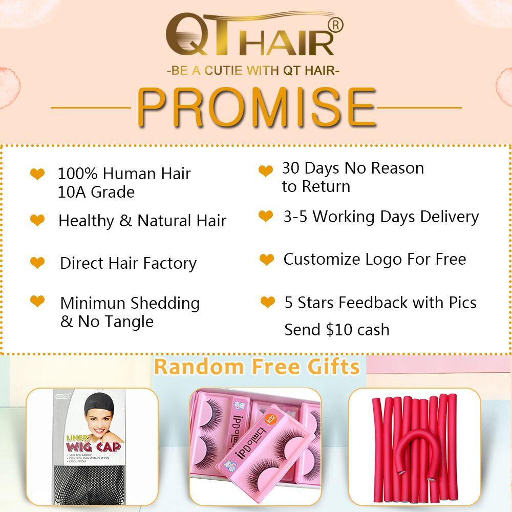 QT 4*4 Кружева Закрытие человеческих волос парики бразильские свободные глубокая волна для черных женщин предварительно сорванные Кружева Закрытие человеческих волос парик - 6