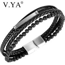 Bracelet Jewelry Multi-Layer Stainless-Steel Bangles Magnetic Black Men Classic V.YA