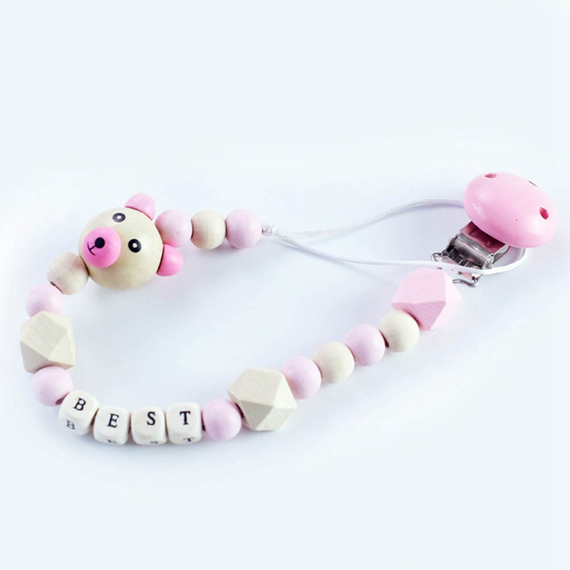 Baby Pacifier Clip Chain Cartoon Cute Bear Wooden Beads Pendant Boys Girls Dummy Pacifier Toys Teether Holder Clips