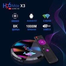 Caixa de tv smart 8k, android 9.0, amlogic s905x3 4gb 128gb usb 3.0 4k 60hz conjunto topo box 2.4g/5g bluetooth media player tvbox hdmi 2.1