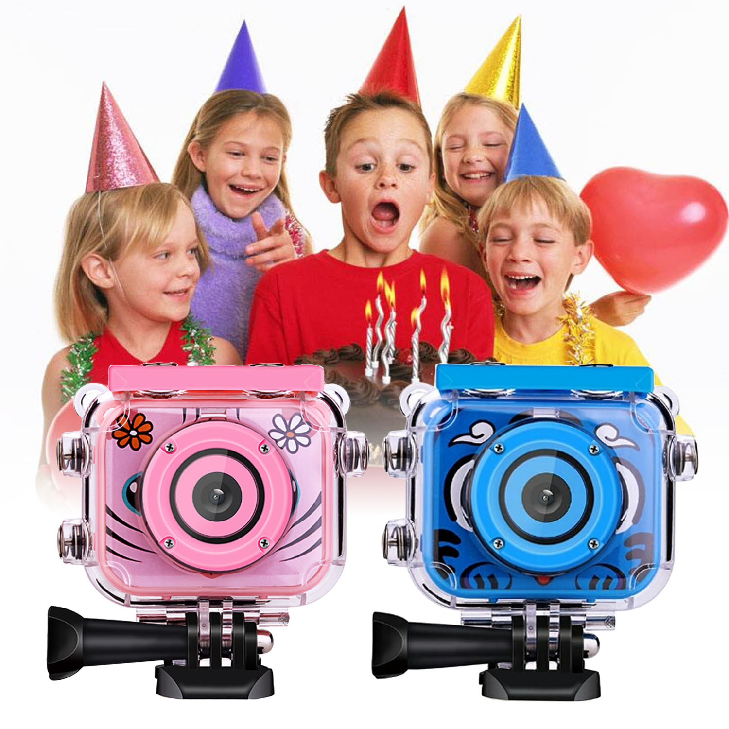 Gosear Kids USB Rechargeable 1080P HD Waterproof Action Digital Camera with 2.0inch LCD Screen for Birthday Festival Toy Gift image