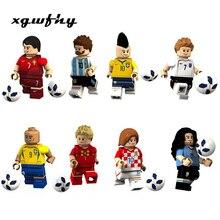 New Bricks Football Team Sports Figures Brazil Russia Germany Pogba Ronaldo Messi Model Building Blocks Toys Figures boys jm127