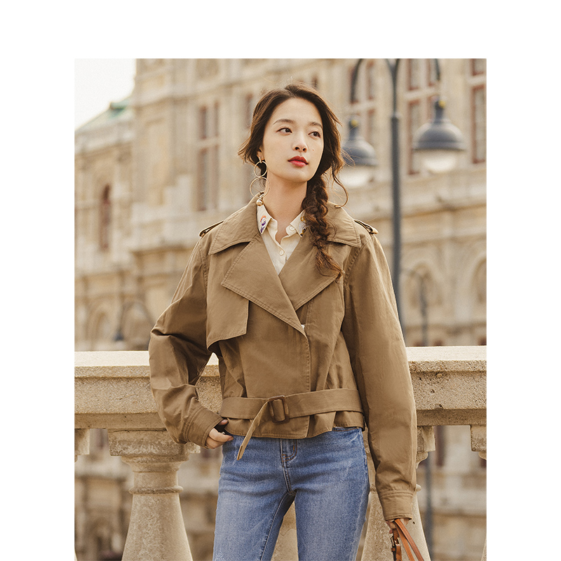 INMAN Spring Autumn Fashion Square Neck Minimalism Khaki All Matched Women Short Suit Coat