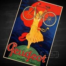 Bicicleta Peugeot Old Times, bicicleta, coches, postura, lona de memoria, Retro, Vintage, cartel de papel Kraft DIY, pared, hogar, Bar, carteles de Decoración, regalo