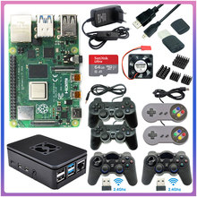 Ram-Game-Kit Joystick Power-Supply Acrylic Case Pi 4-Model 4GB with USB Gamepad Sd-Card