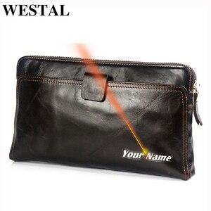Image 1 - Westal財布男性本革メンズ財布クレジットカードホルダークラッチ男性バッグコイン財布男性本革9041