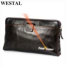 Westal carteira masculina de couro genuíno dos homens carteiras para titular do cartão de crédito embreagem sacos masculinos bolsa de moedas de couro genuíno 9041