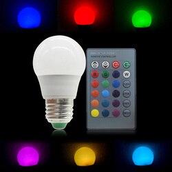 E27 E14 GU10 Светодиодный лампочки 3 Вт 5 Вт RGB пятно 16 Цвет светодиодный светильник AC85-265V Сменные цветная (RGB) Светодиодная лампа светильник с пуль...