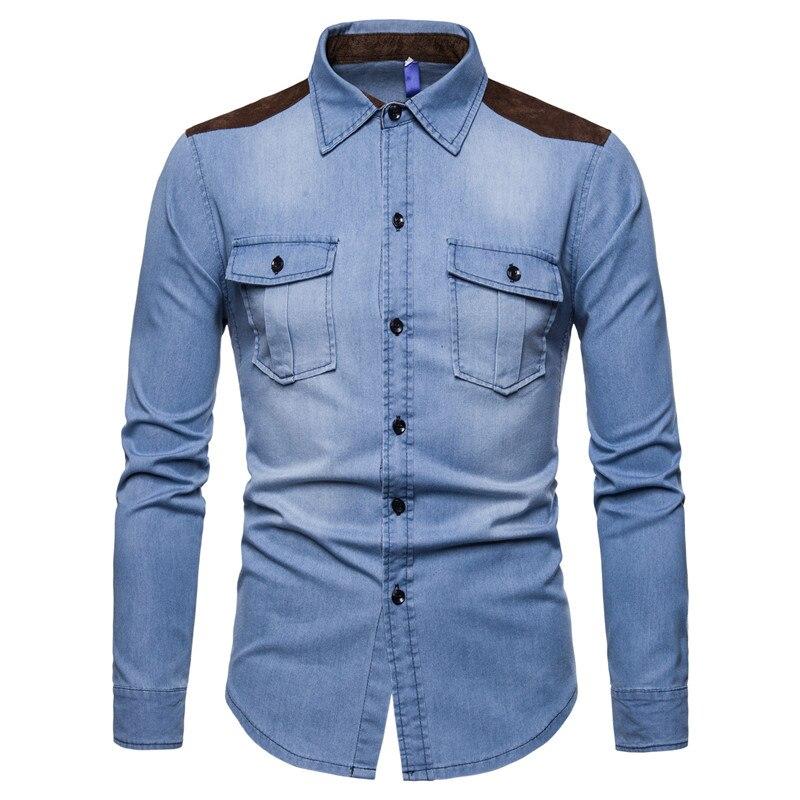 2018 Mens Cotton Shirts Fashion Country Folk Ethnic Casual Vintage Denim Blue Shirt Men Cowboy Long Sleeve Jean Shirts For Men