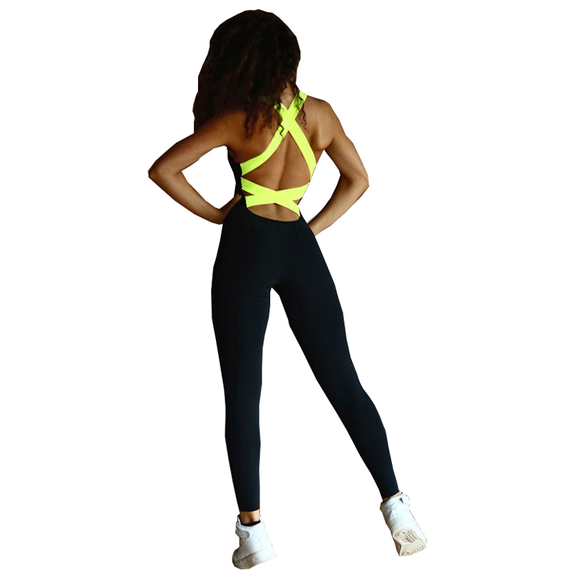 Sexy Backless Bandage Yoga Jumpsuit Fitness Suit Custome Yoga Set Running Sport Workout Tracksuit for Women Fitness Clothing