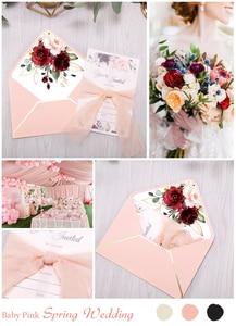 Image 5 - 50pcs Invitations Cards Bridal, Baby Shower Invite, Birthday, Dinner Invites, Pink pocket with Flower