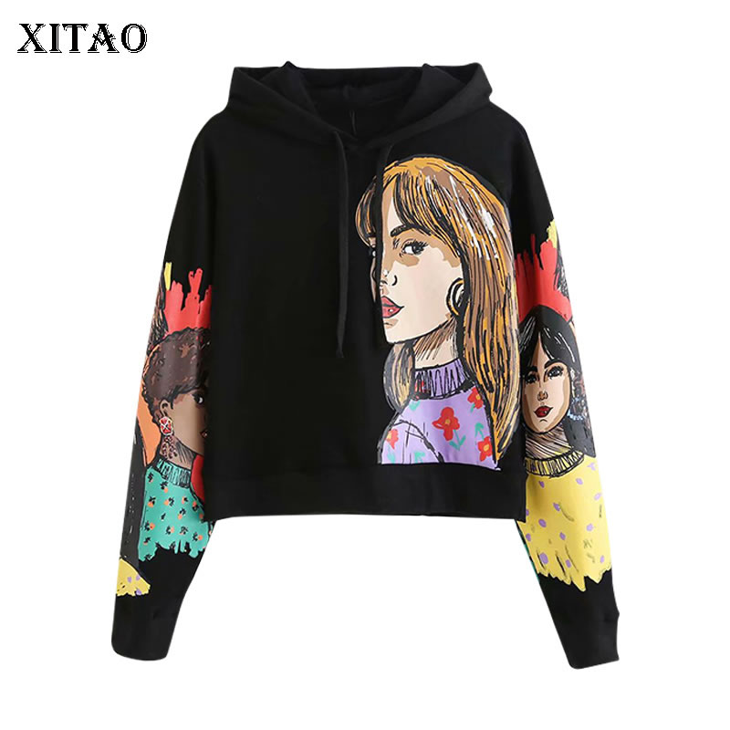 XITAO Personality Girl Print Hoodies Women Fashion Trend Sweatshirt Leisure Loose Women Clothes 2020 New Streetwear Tops DMY2838