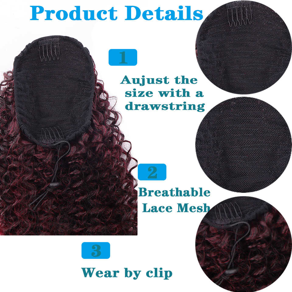 Ailiade 2020 novo tipo de cordão curly rabo de cavalo curto wrap cabelo sintético bun afro rabo de cavalo extensões e cabelo peças